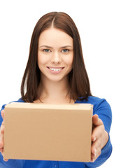 businesswoman delivering box