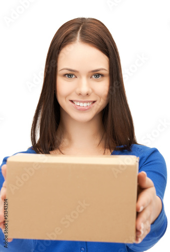 businesswoman delivering box