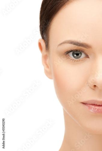 half face of beautiful woman