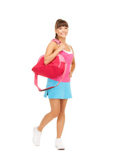 sporty woman with sports bag