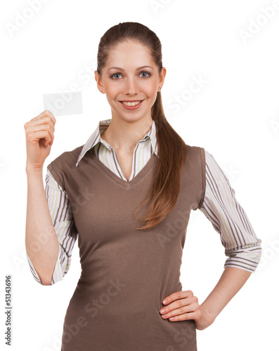 Girl holding plastic card