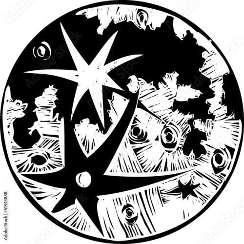 Fototapeta Woodcut Cratered Moon