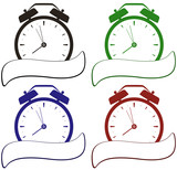 colorful isolated clock with place for text