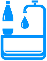 sign with tap, bottle and drop - drinking water symbol