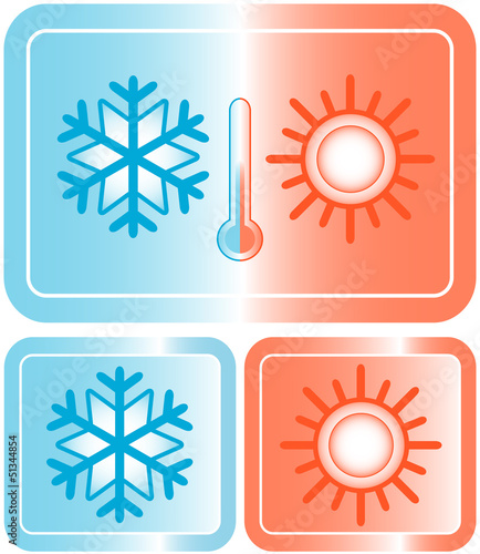set button with snowflake, sun and thermometer silhouette
