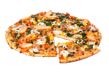 Chicken pizza on a white background
