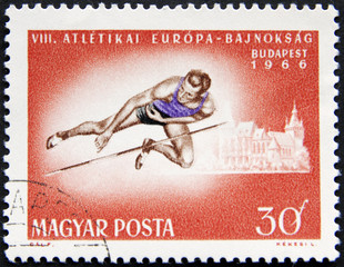 Olympic athlete on a Hungarian stamp