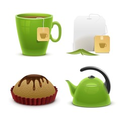 tea vector icon set