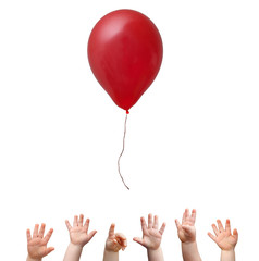 Hands and red ballon
