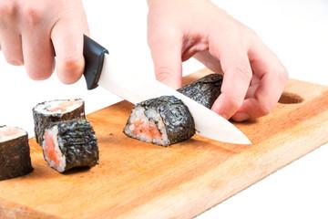 Cut sushi roll