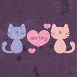 Two cute cats being in love