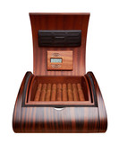Opened humidor with cigars