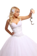bride in handcuffs. beautiful blonde thinking isolated
