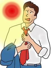 暑さを凌ぐビジネスマン