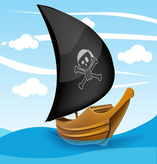 Sail boat with pirate symbol on a cloudy day