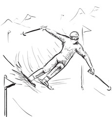 Skiing man on competitions