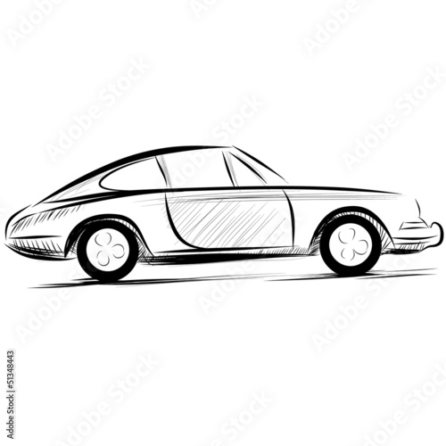 Car racing auto logo line art