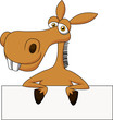 Cute donkey cartoon with blank sign