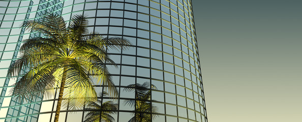 3d Palm Tree and Office Building under the sun