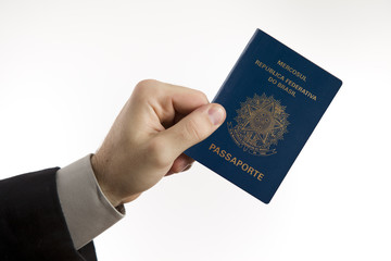 holding a Brazilian passport.