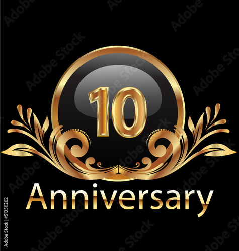 10 years anniversary birthday in gold