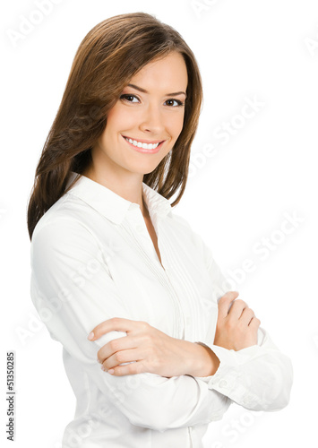 Young cheerful business woman, isolated on white background