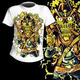 T-Shirt Print Western Skull