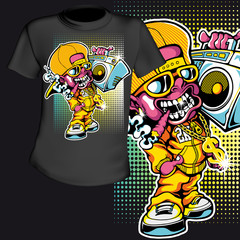 T-Shirt Print Comic Figur