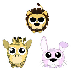 Cute animals looking up set