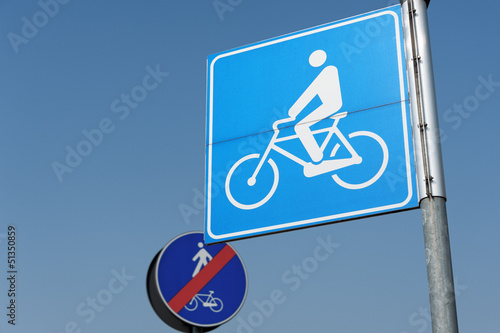 Bicycles and pedestrians road signs