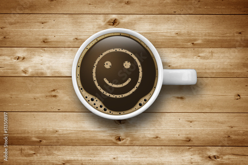 canvas print picture Kaffeetasse mit Smiley