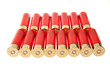 red hunting cartridges on a white background