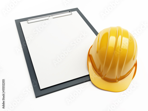 construction helmet form on a white background