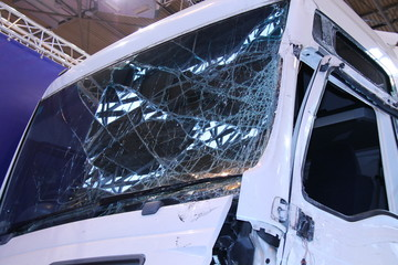 The Broken Windscreen of a Commercial Lorry Truck.