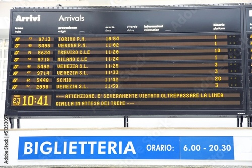 Board schedules of arrivals and departures of trains in an Itali