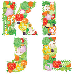 Alphabet of vegetables IJKL