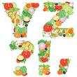 Alphabet of vegetables YZ