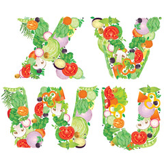 Alphabet of vegetables VWUX