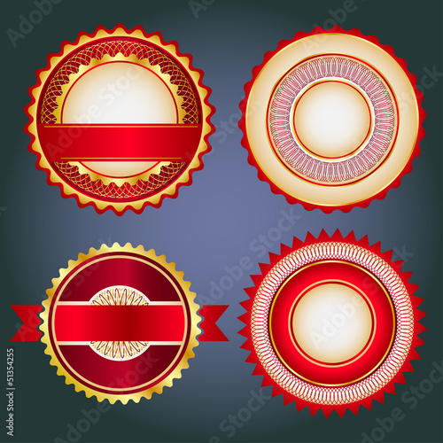 Set of sale badges, labels and stickers in red without text
