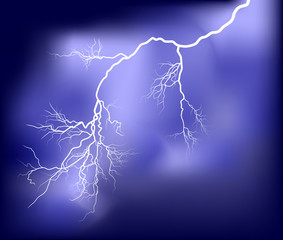 white bright lightning in dark lilac sky
