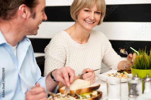 Couple enjoying vegetarian and healthy breakfast