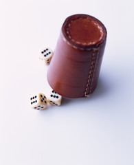 Leather dice cup with dice