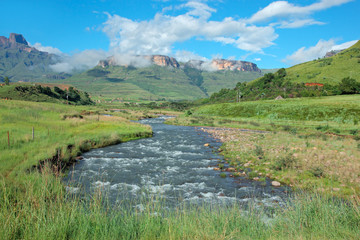Tugela river with the Drakensberg Mountains beyond