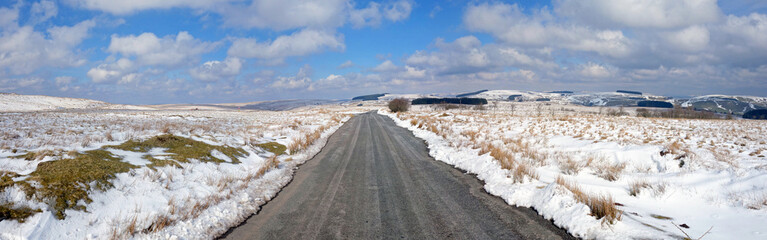 Country Road winter snow panorama, Mynydd Epynt, Wales UK