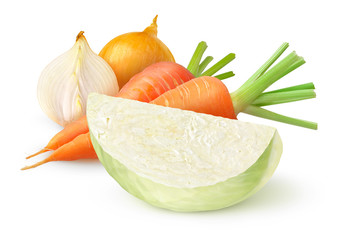 Fresh vegetables (coleslow ingredients) isolated on white