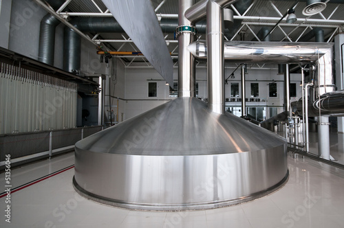 Steel fermentation vat on brewer factory