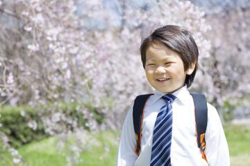 桜と新学期の子供