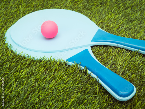 Rackets and Ball in Grass