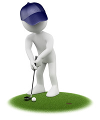 3D white people. Golfer