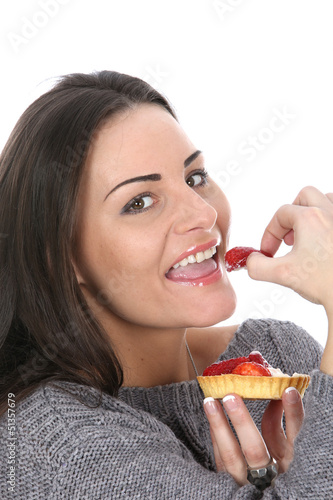 Woman Eating a Strawberry Tart